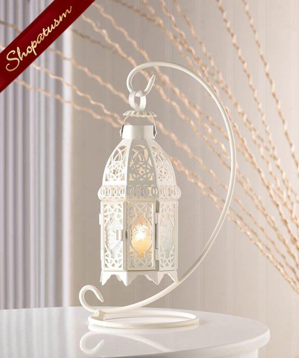 Hanging White Moroccan Glass Lantern with Stand #whitecandleswedding