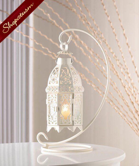 Hanging White Moroccan Glass Lantern with Stand #whitecandleswedding