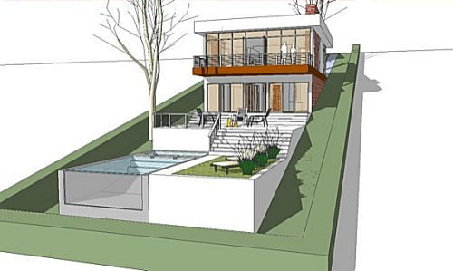Very steep slope house plans sloped lot house plans with for Modern house plans with basement