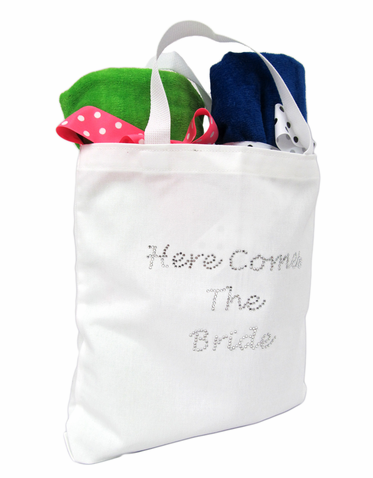 Here Comes the Bride Tote Bag with Clear Rhinestones