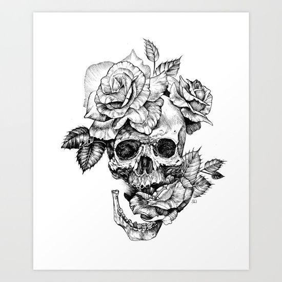 Black And White Skull With Roses Pen Drawing Art Print Skull Rose Tattoos Full Sleeve Tattoos Tattoos