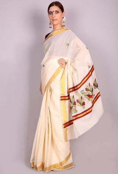 0e65cf8d80 Red flower embroidered white Kerala cotton saree with gold zari border  Dimension with Blouse : 6.2