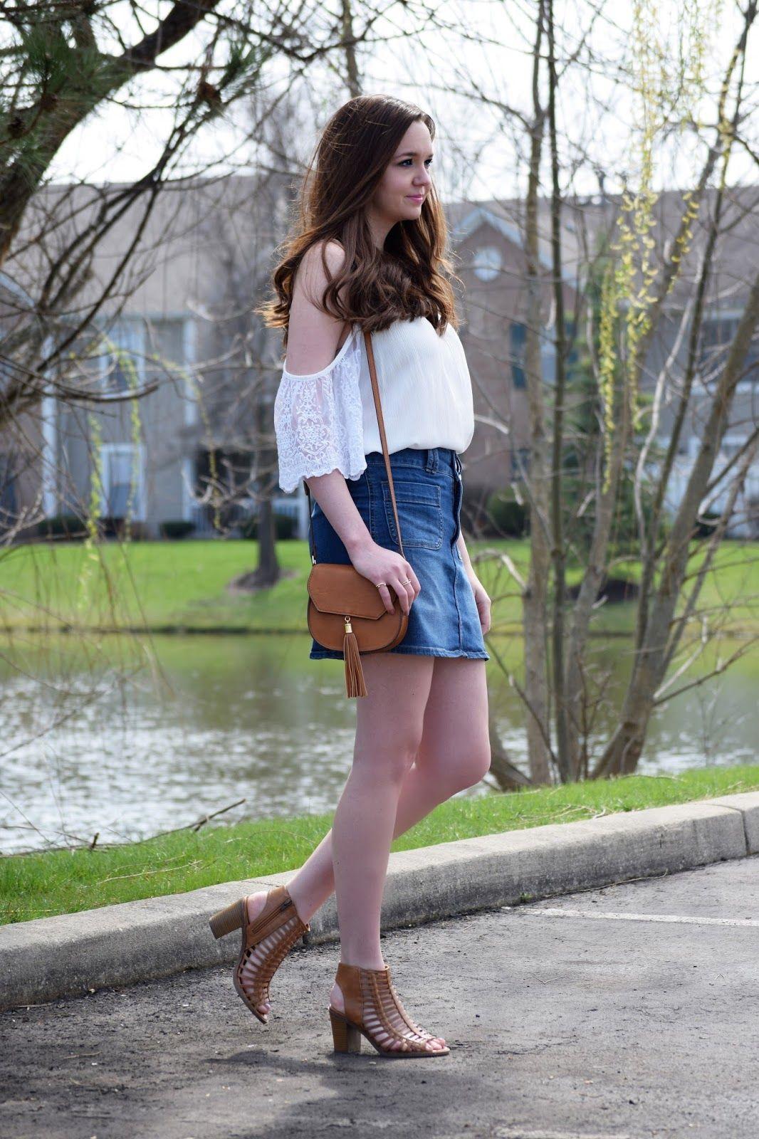 fec79b603 Cold Shoulder Top and Denim Skirt      Wear      Denim skirt ...