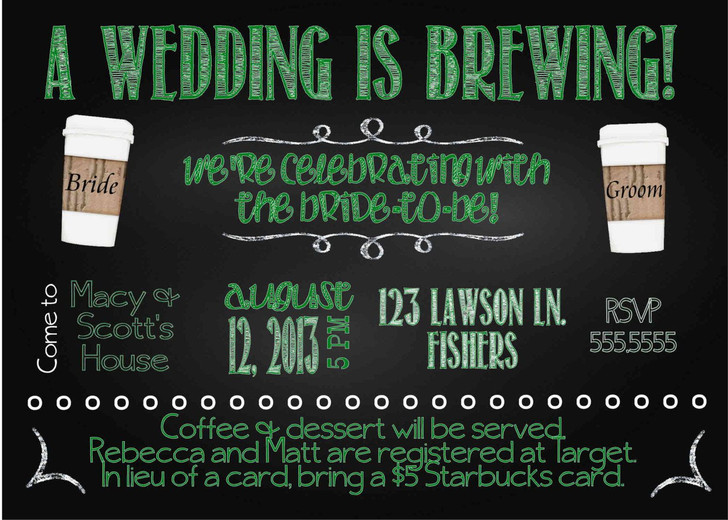free printable famous couples bridal shower games%0A Digital Chalkboard Style Starbucks Coffee Bridal Shower Party Invitation  DIY Printable