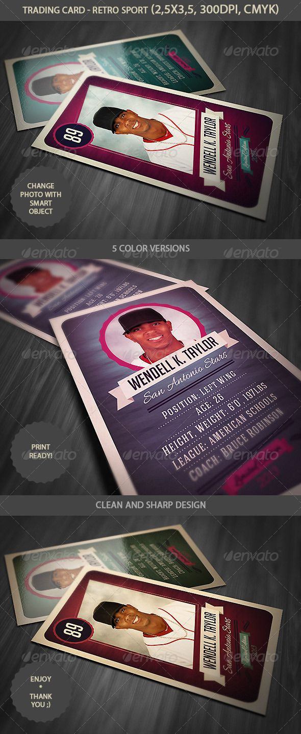 Trading Card - Retro Style | Trading cards, Template and Soccer sports