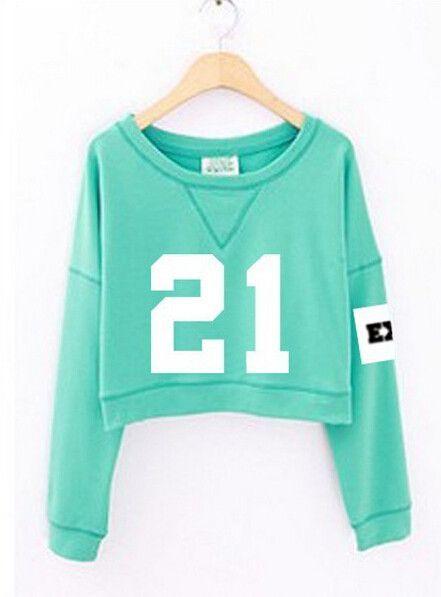 2015 fashion women's exo spring autumn number printed cropped sweatshirts kpop short hoodies mint green white sudadera mujer