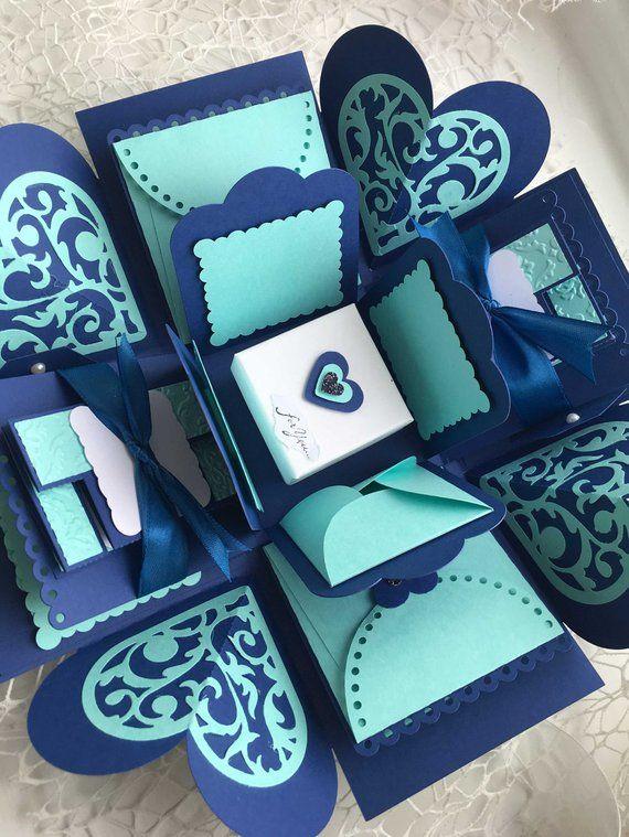 Blue Explosion Photo Box Photo box Royal Blue & Teal Blue | Etsy