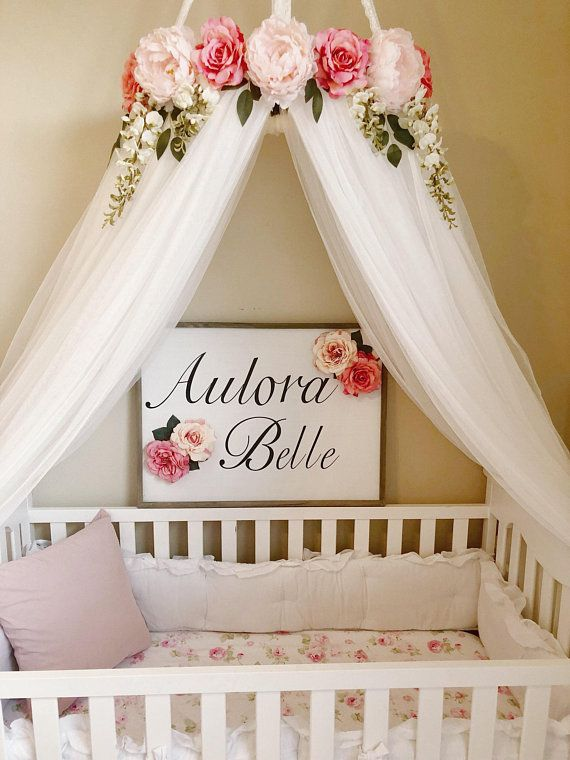Serene Floral pink peony and rose Flower Crib or Bed Canopy Crown With Hanging Crystals and Roses Ba is part of Crib canopy -