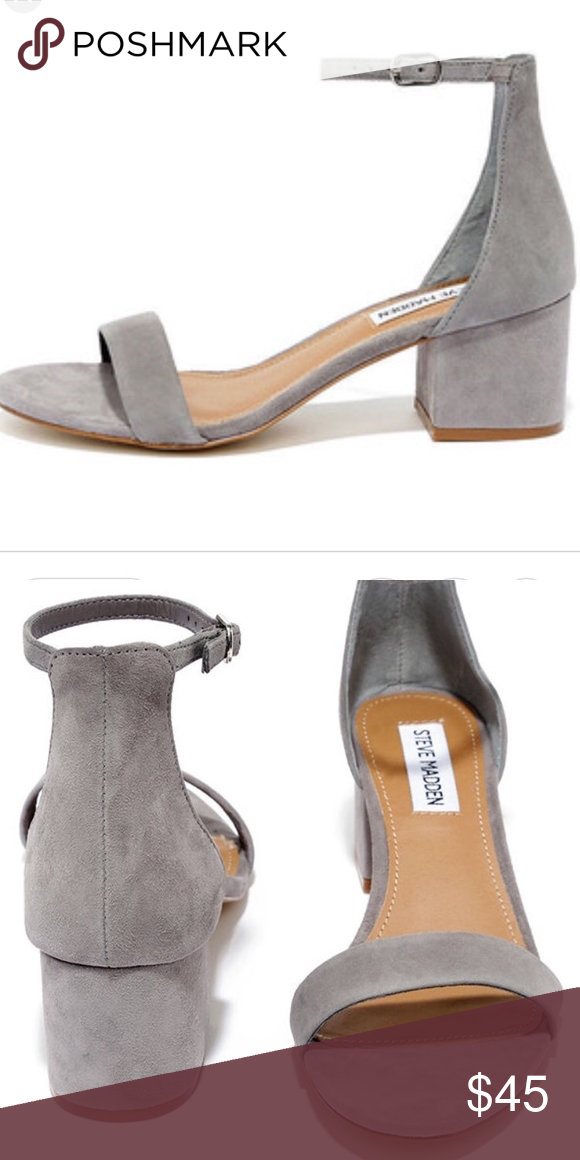 7a1ea20b757 Steve Madden Irenee Sandal Grey Suede Suede or man-made upper material  Man-made or leather lining Man-made sole 2 inch heel height Steve Madden  Shoes ...