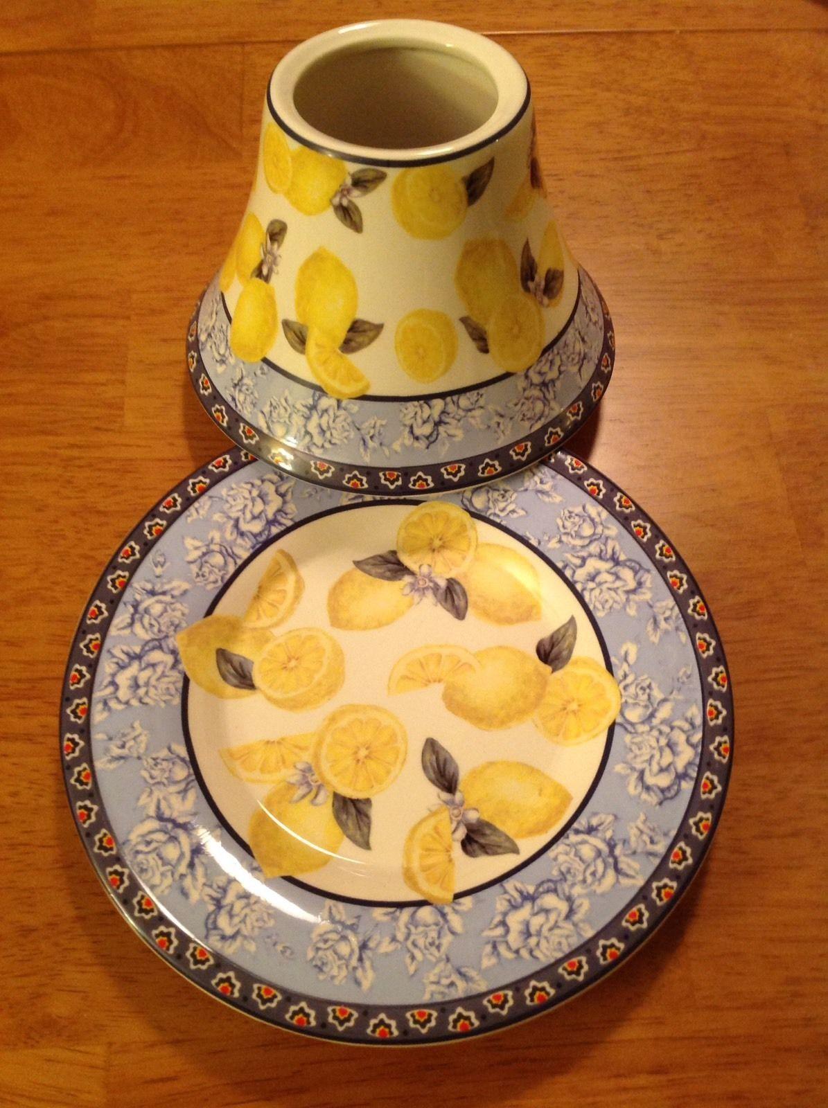 Yankee candle citrus lemons large jar candle plate and shade euc