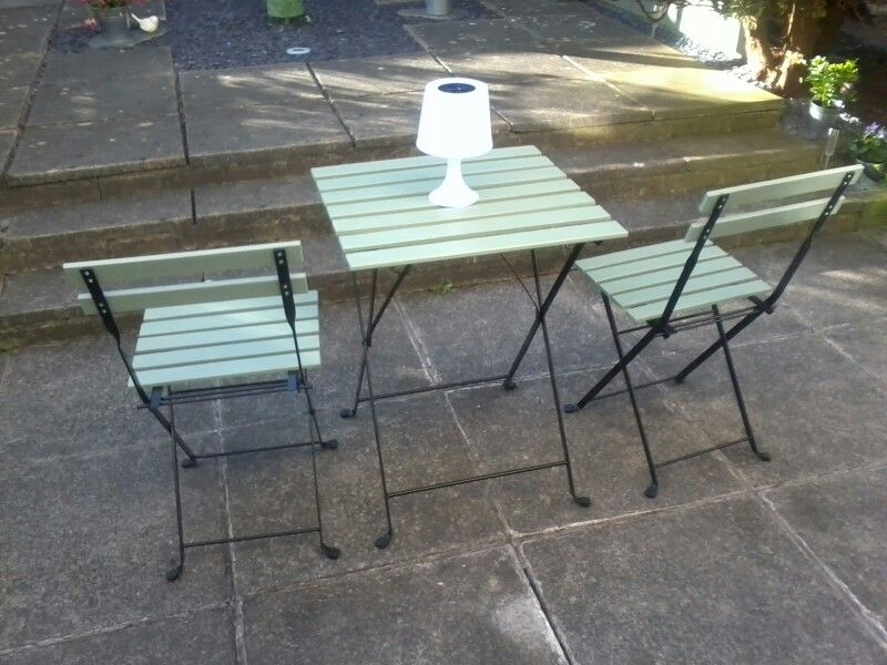 Painted IKEA Tarno table and chairs | Balcony table ...