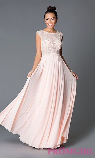 Blush Prom Dress. Long Cap Sleeve JVN by Jovani Dress JO-JVN ...