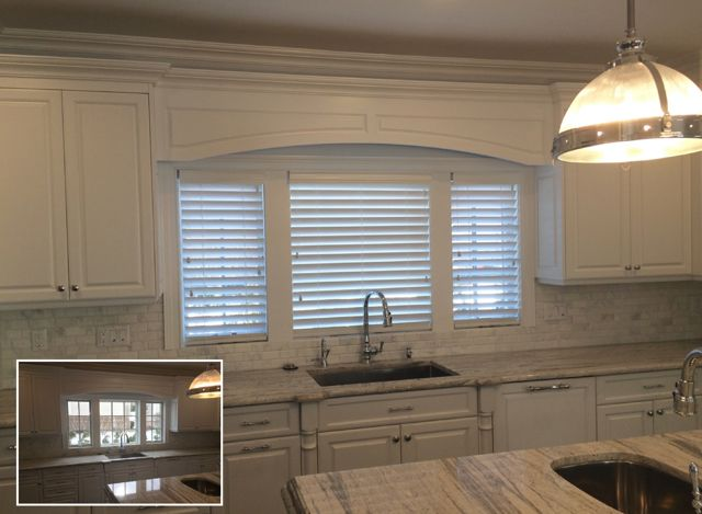 Wood blinds in a kitchen