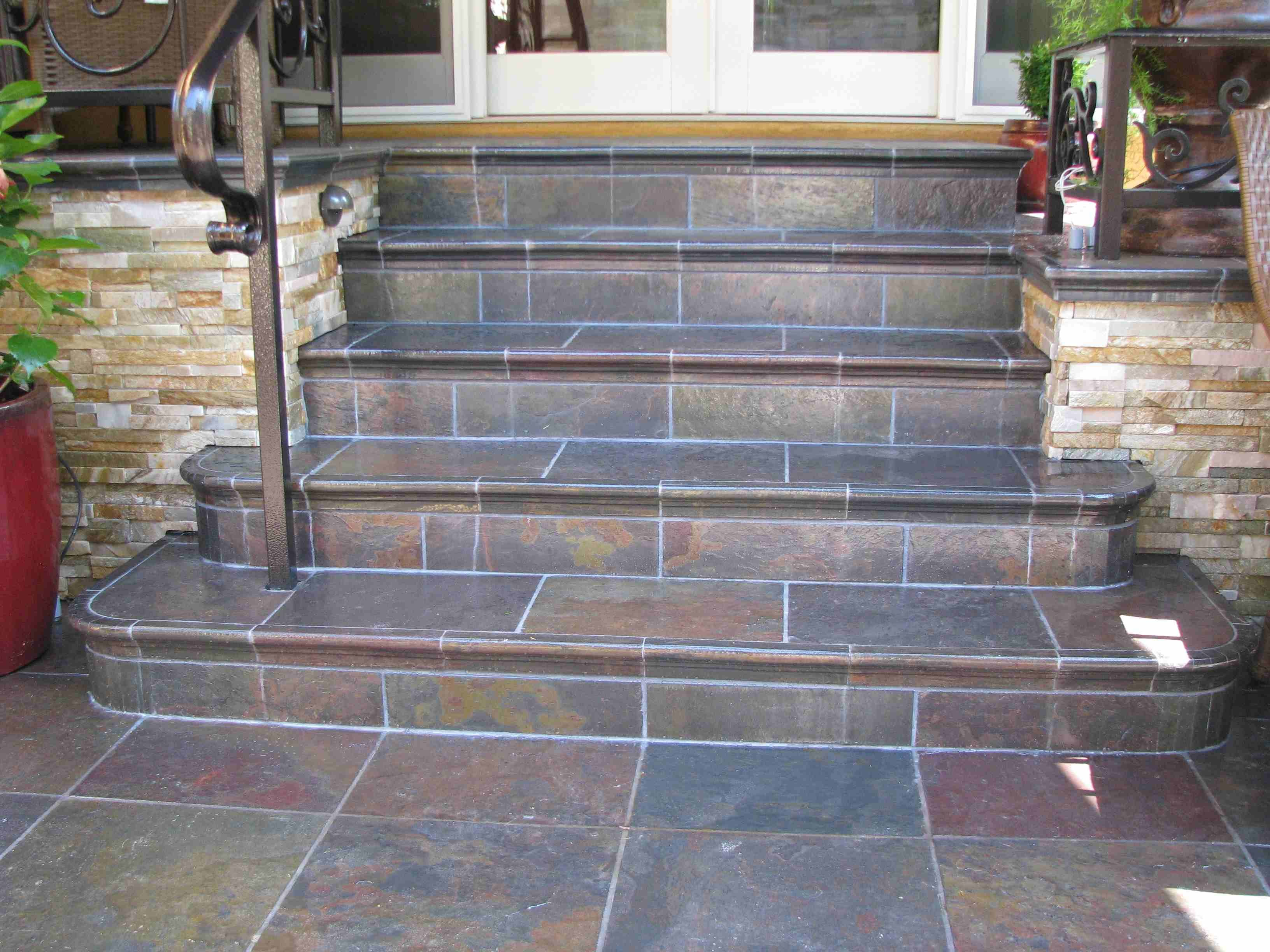 Perhaps We Could Tile Over Our Concrete Steps With Slate Tile Home Exterior Diy