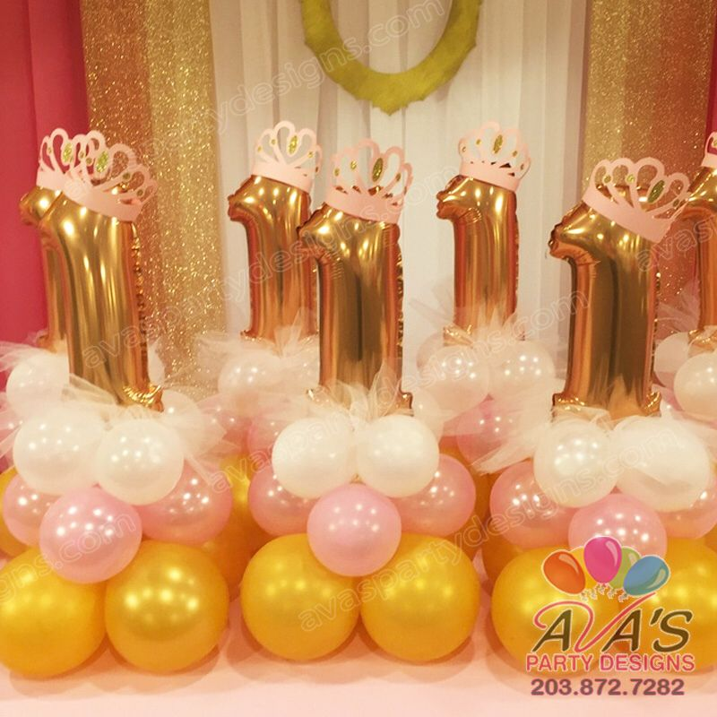 1st birthday princess balloon centerpieces for Birthday balloon centerpiece ideas