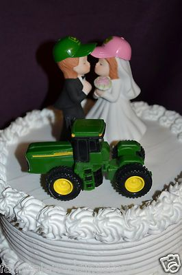 John Deere Green Farm Tractor Wedding Cake Topper Bride & Groom ...