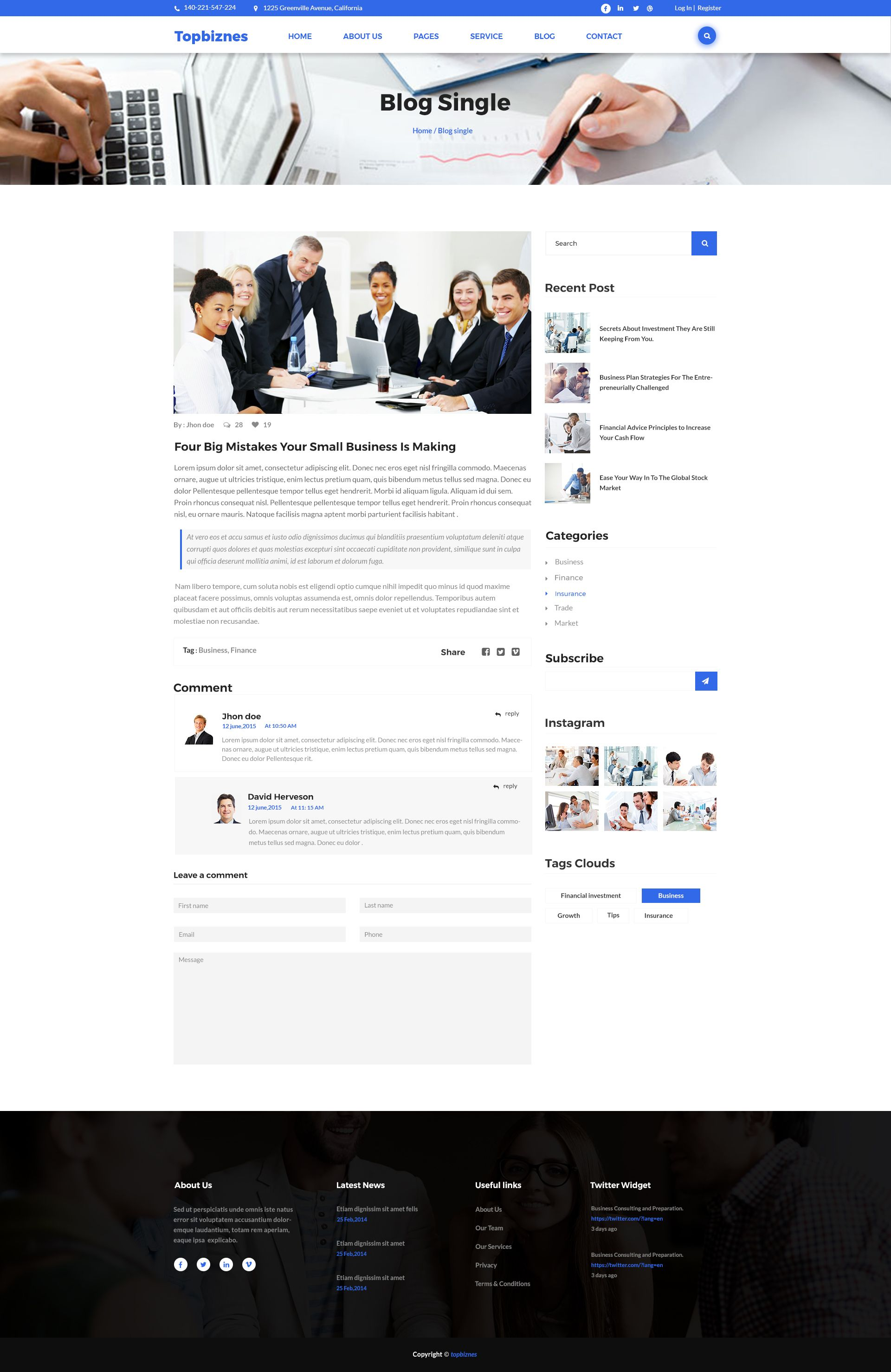 Topbiznes Business Consulting Psd Template With Images