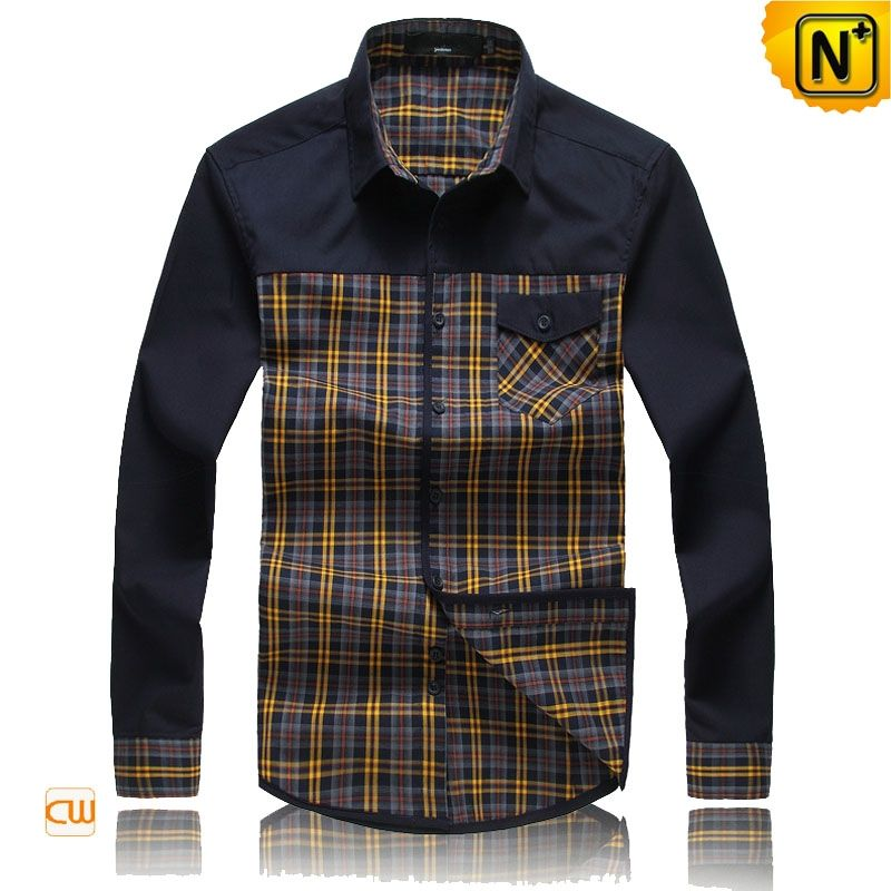 Mens Long Sleeve Plaid Button Down Shirts CW114582 Our classic ...