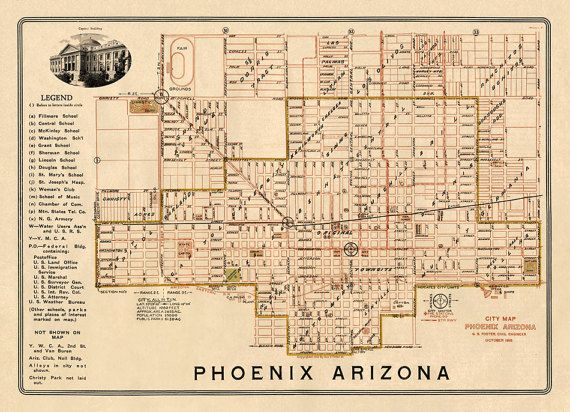 A Map Of Phoenix Arizona.Old Map Of Phoenix Historical City Map Restored Wall Map