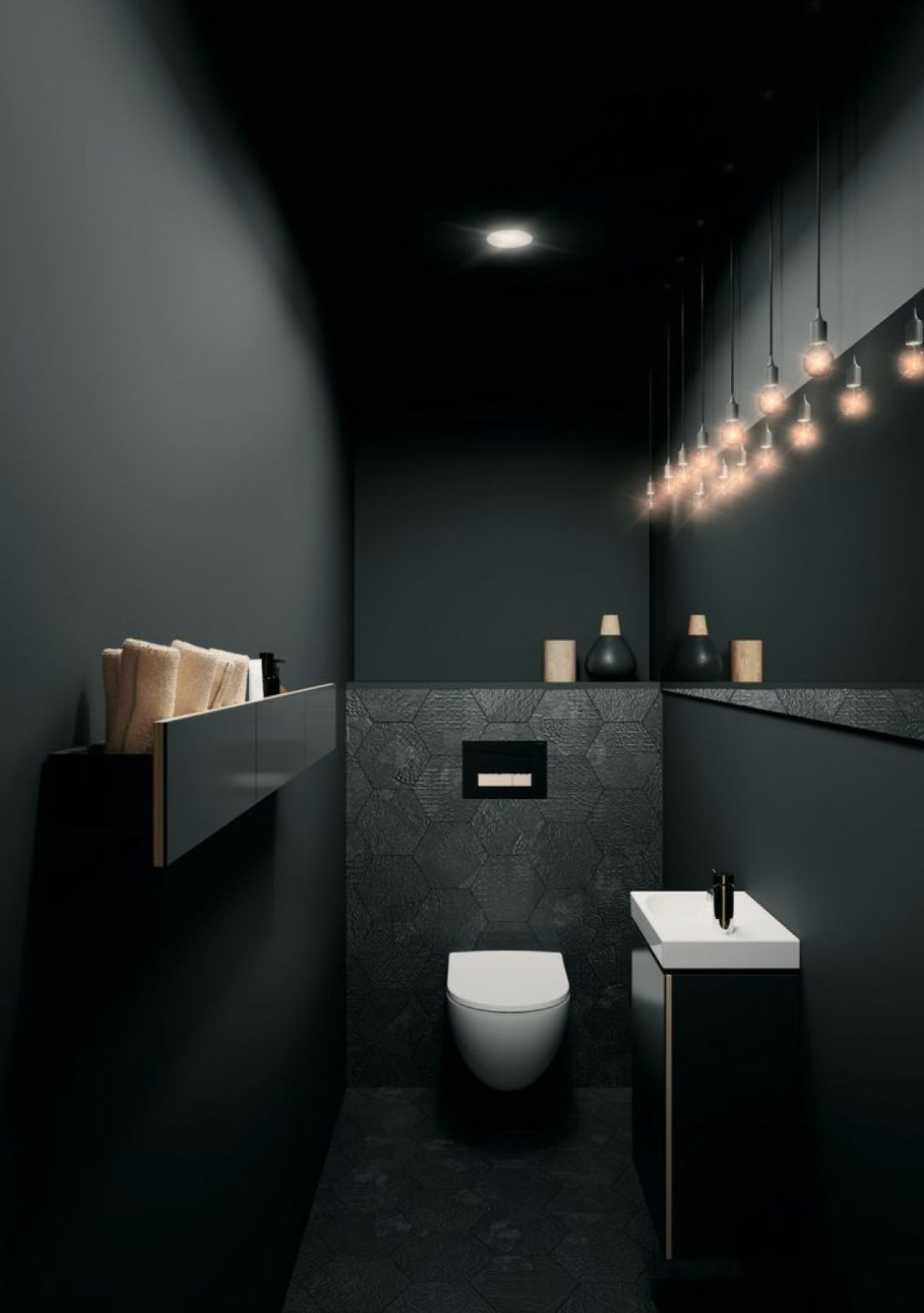 I like charcoal with white & timber. All charcoal is too dark!! #simplebathroomdesigns