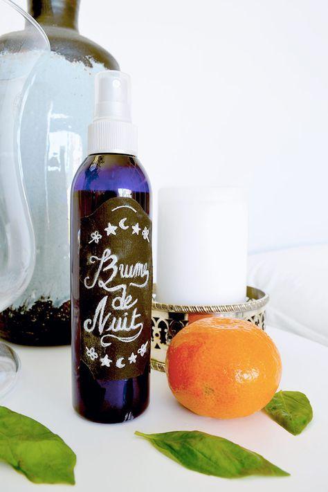 faf191979d000f DIY   brume d oreiller relaxante parfum fleur d oranger, mandarine et  basilic   Moukita