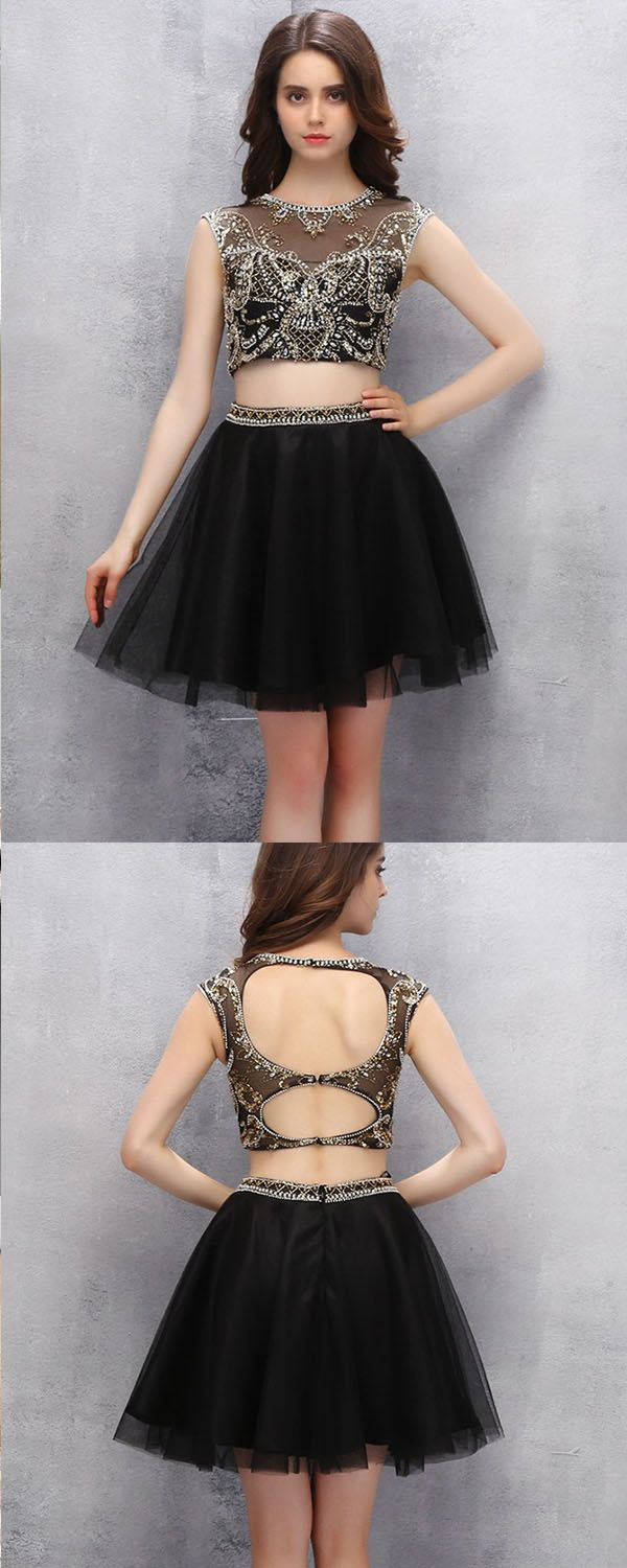 15ff800532 Sexy Two-piece Scoop Short Black Tulle Open Back Homecoming Dress with  Beading