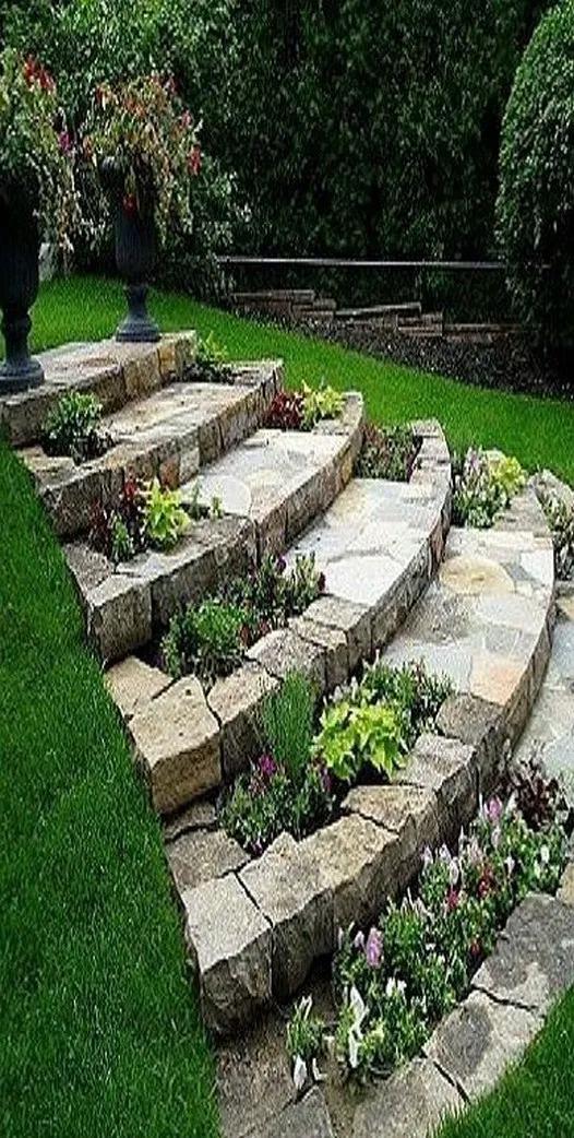 Inspirational Schemes That We Adore Walkwaytofrontdoor In 2020 Outdoor Gardens Garden Steps Backyard Landscaping