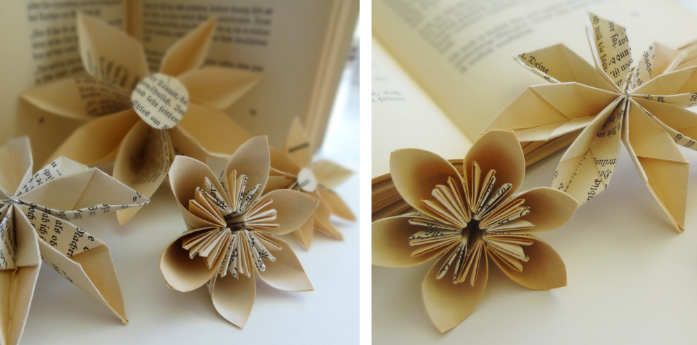 gefaltete papierbl ten aus buchseiten paper flowers with old book pages papier papier. Black Bedroom Furniture Sets. Home Design Ideas