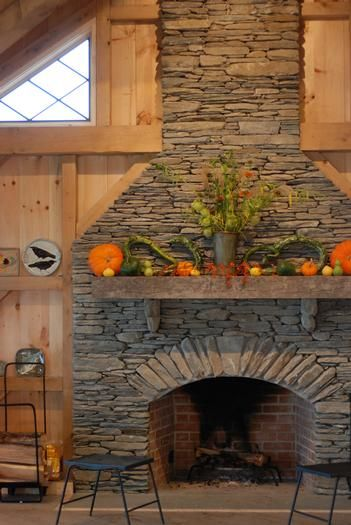 Great Stone Fireplace With Open Hearth   We Have Two Of These  One In Our Home One In Our Shop