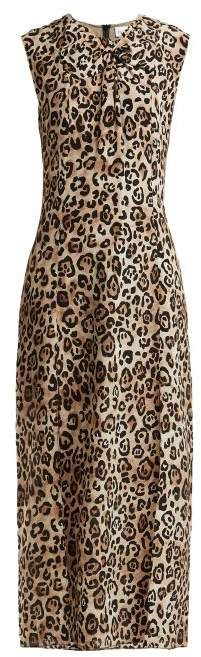 3832fcb938 Raey Knot Front Leopard Print Silk Dress - Womens - Leopard