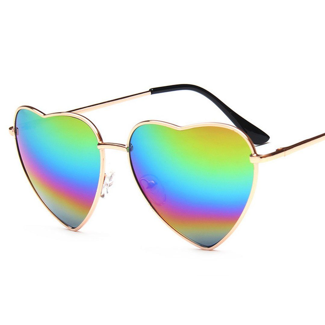 6ccdd34af3 Felice Color Coated Full Metal Frame UV401 Heart Shape Sunglasses rainbow  lens   Click image to review more details.(It is Amazon affiliate link)    ...