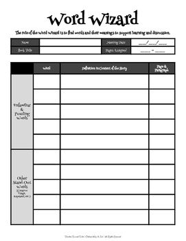 Word Wizard: Guide Sheet for Literature Circles | Literature ...