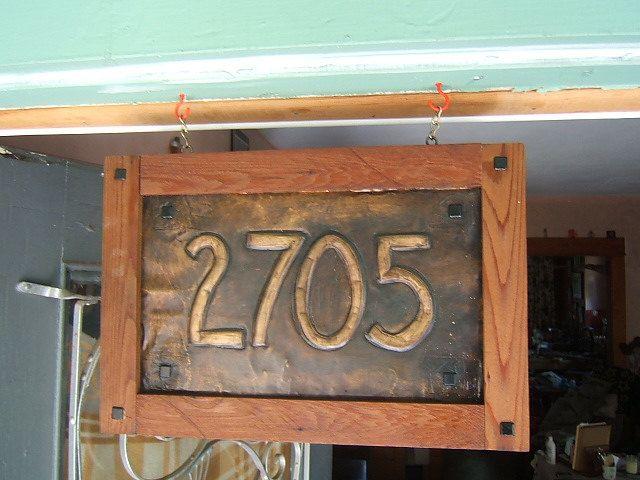 Craftsman Hanging House Sign Redwood Frame Copper House Home Signs Craftsman Tile