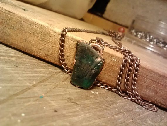 Copper Emerald Green Small Seaglass Pendant by JennieVargasJewelry,