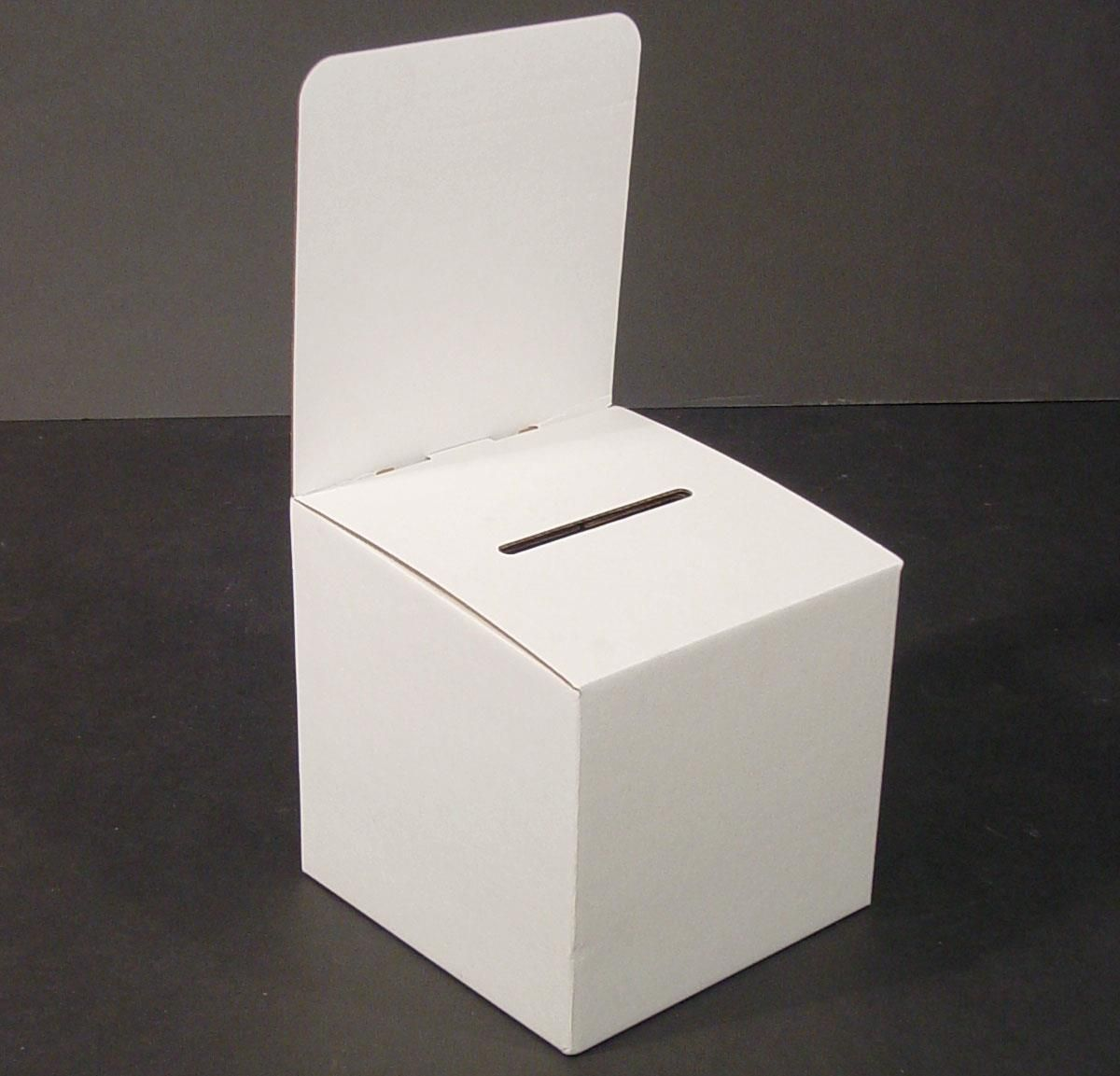 Cardboard Ballot Box Removable Header Slanted Top White Suggestion Box Raffle Box Donation Box