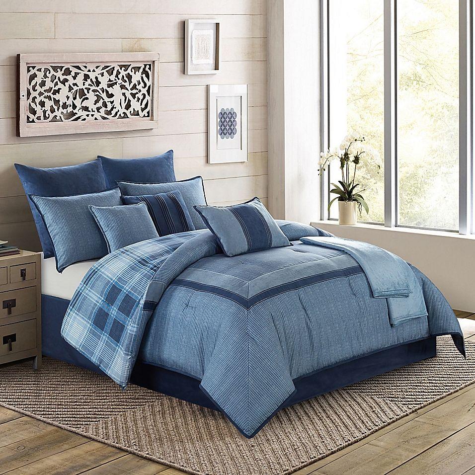 Harlow 10Piece California King Comforter Set In Blue