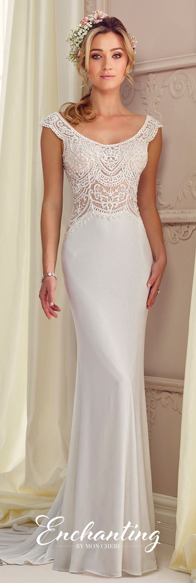 Jersey Fit & Flare Wedding Gown - Enchanting by Mon Cheri 217104 ...