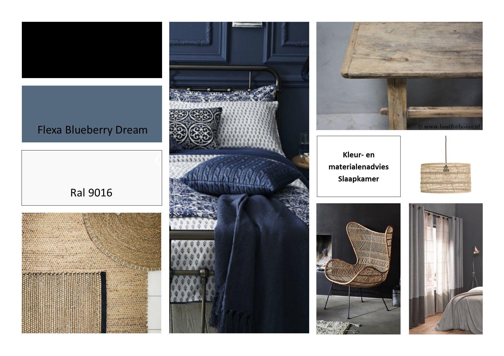 kleuradvies slaapkamer, bleuberry dream van flexa, antraciet en ral ...