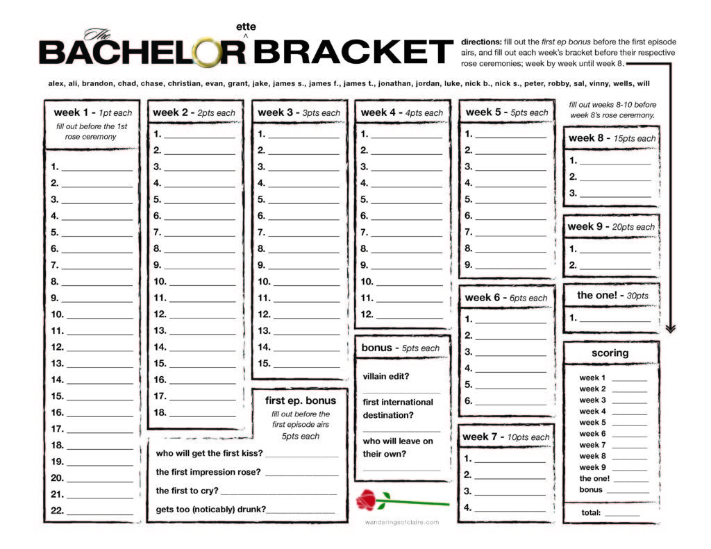 Selective image in bachelorette bracket printable