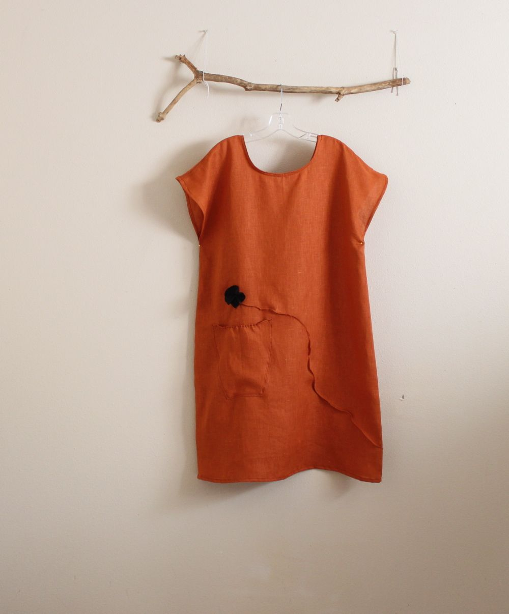 rust linen dress with black flowers by annyschoo eco clothing