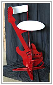 #guitar #barstool #red #chair #home #decor