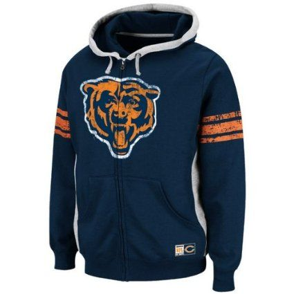 new product 39575 8cf4a Amazon.com: Chicago Bears Men's Vintage Hooded Full Zip ...