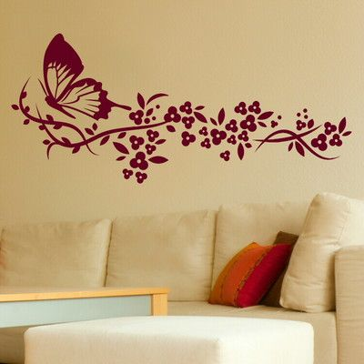 Butterfly & Flower Modern Wall Stickers / Wall Decals / Large Wall ...