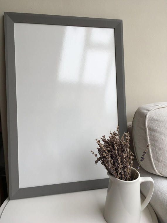 SALE // Grey Framed Whiteboard // Kitchen By FramedNoticeBoardCo