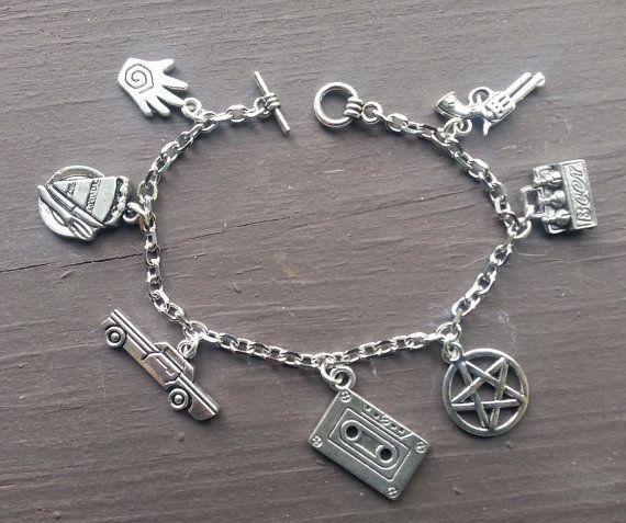 Supernatural Charm Bracelet - Sam And Dean Winchester Inspired Silver Tone Bracelet u7CIT8e