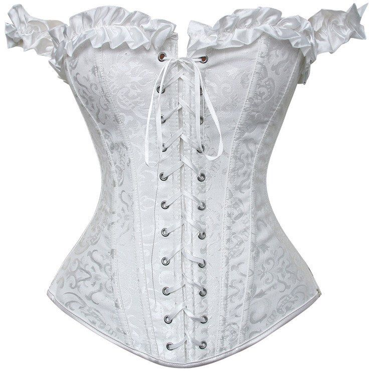 a958fb49e6c43 White Off Shoulder Tie Strap Overbust Corset