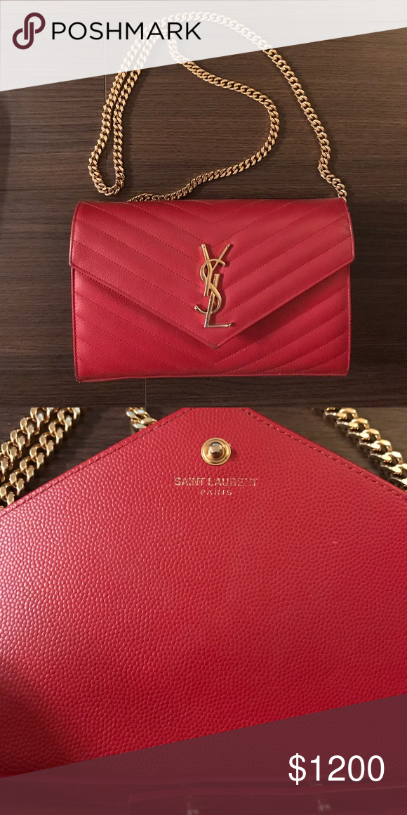 6854d12e8f1 Ysl Purse Red, gold chain, a year old Yves Saint Laurent Bags Shoulder Bags