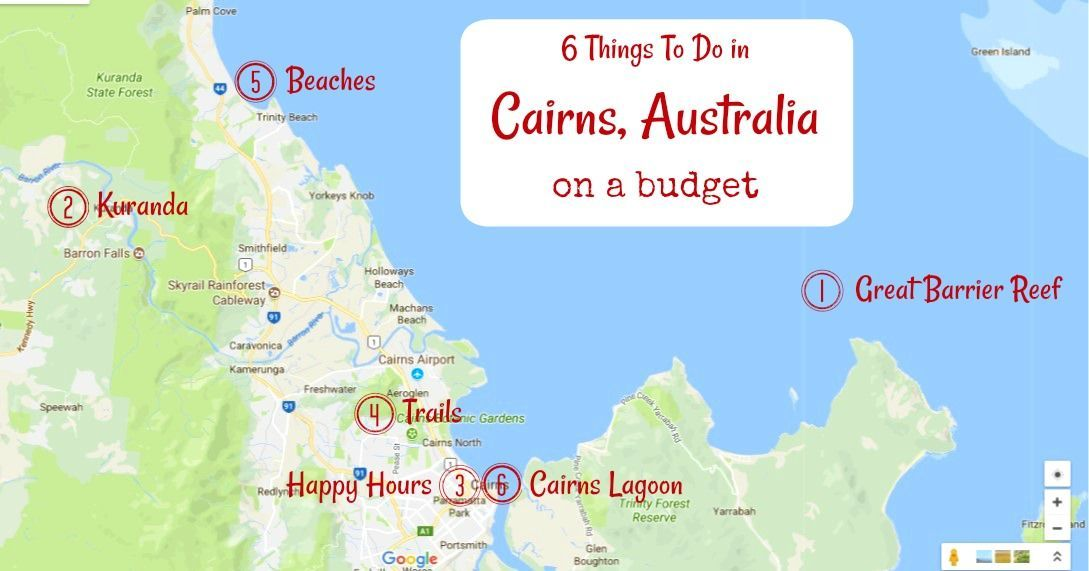 Cairns Tourist Map Of Things To Do In Cairns Australia On A Budget By Jetsettingfools Com Australia Cairns Australia Australia Places To Visit