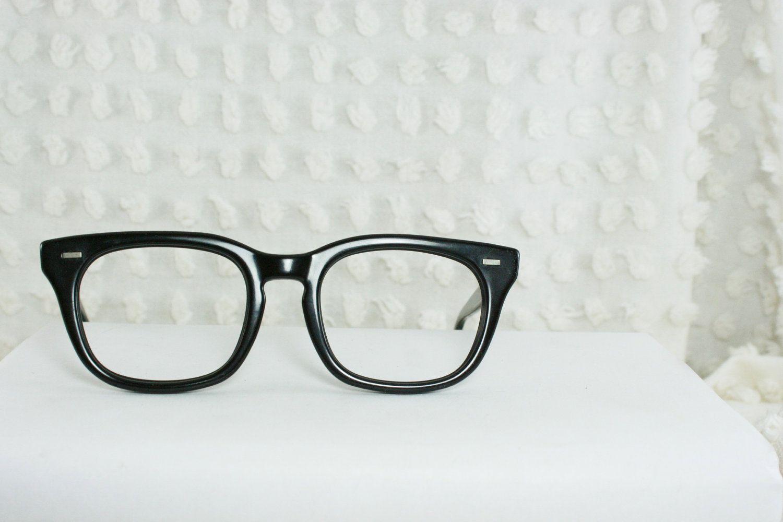 65c49e3eebf 60s Mens Eyeglasses 1960s G Man Glasses Wayfarer Frames 50 20 by Bausch and  Lomb.  74.00
