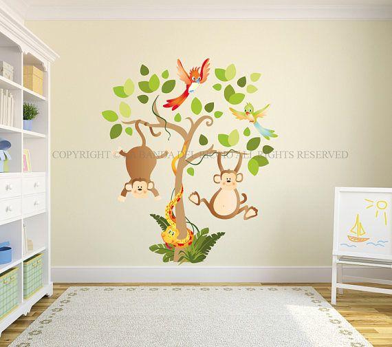 Adesivi Murali Low Cost.Tree Baby Wall Decal Nursery Puppies Animals Wall Decal Kids Wall